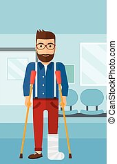 Patient with broken leg - An injured hipster man with broken...