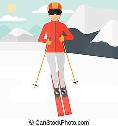 Young woman skiing - Young woman skiing on the background of...