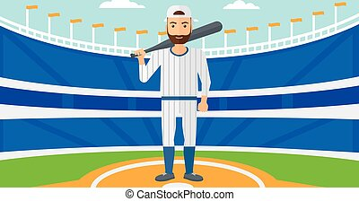 Baseball player with bat.