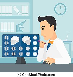 Doctor checking MRI results - A doctor looking at results of...