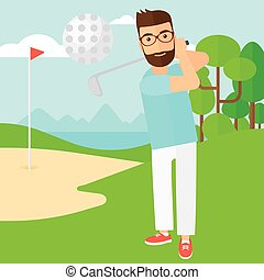 Golf player hitting the ball. - A hipster man with the beard...
