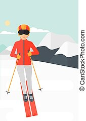 Young woman skiing. - Young woman skiing on the background...