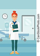 Doctor in hospital ward. - A happy doctor with stethoscope...