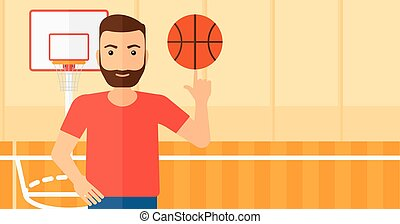 Basketball player spinning ball.