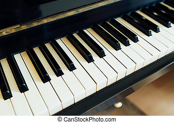 black and white keys of piano perspective side - black and...