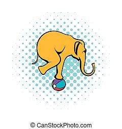 Circus elephant on the ball comics icon