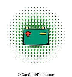 Car battery comics icon isolated on a white background