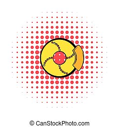 Disc brakes comics icon isolated on a white background