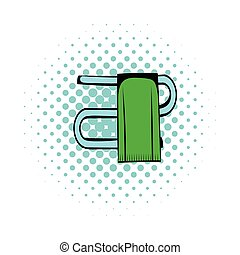 Trumpet with a towel comics icon isolated on a white...