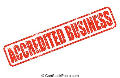ACCREDITED BUSINESS RED STAMP TEXT ON WHITE