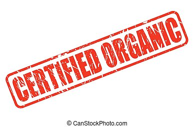 CERTIFIED ORGANIC RED STAMP TEXT ON WHITE