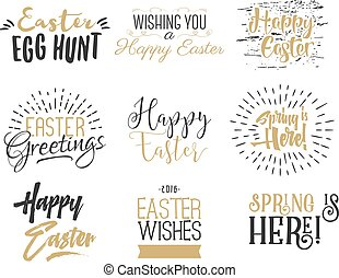 Easter wishes overlays, lettering labels design set. Retro holiday badges. Hand drawn emblem with ribbon. Isolated. Religious signs. Photo overlay designs for web, print