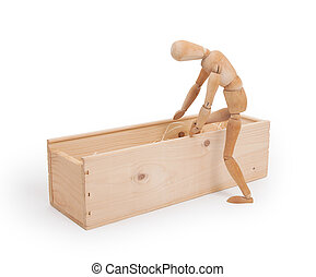 Wood figure mannequin stepping in a wooden box - concept of...
