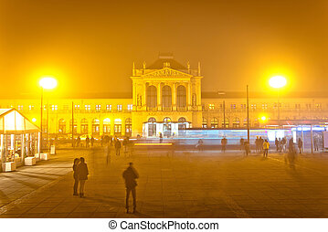 Zagreb central station evening view, capital of Croatia