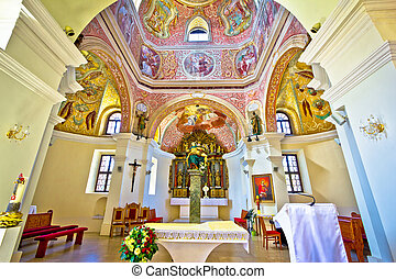 Historic church altar view in Krizevci