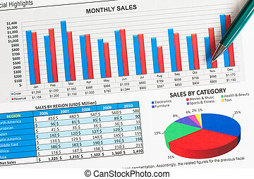 Graphs and charts - Colorful sales charts and graphs with a...