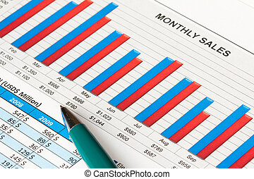 Financial report - Colorful sales report with a ball pen