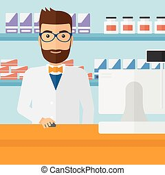Pharmacist at counter with cash box. - A hipster man at the...