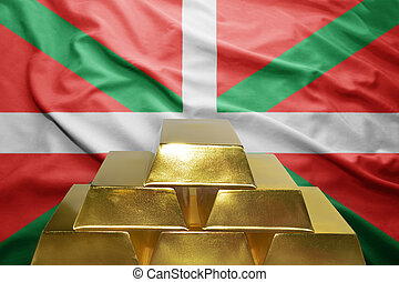 basque country gold reserves - shining golden bullions on...