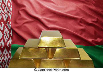 belorussian gold reserves - shining golden bullions on the...