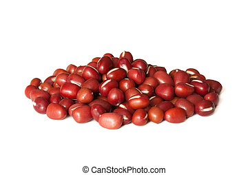 Red beans - Pile of red beans isolated on white background