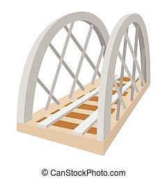 Metal railway bridge cartoon icon on a white background