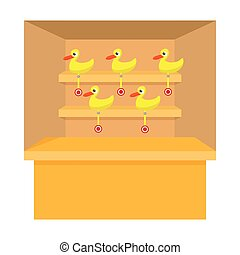 Shooting game with duck target cartoon icon