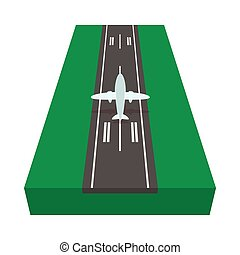 Airstrip with airplane cartoon icon