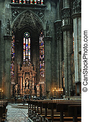 Inside in Milan Cathedral, Italy - Milan Cathedral (Italian:...