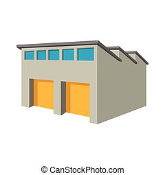 Commercial warehouse with yellow roller doors