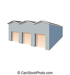 Commercial warehouse with roller doors icon
