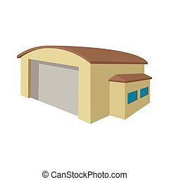 Industrial warehouse with roller door cartoon icon