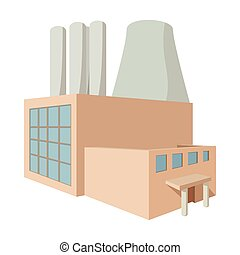 Fossil fuel power station cartoon icon