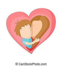 Pink heart with mom and son cartoon icon