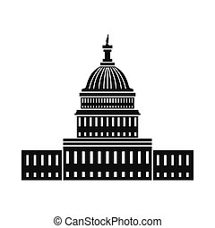 White House in Washington DC icon. Black simple style