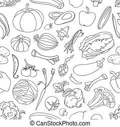 Doodle pattern of vegetables