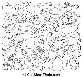 Doodle vector set of vegetables