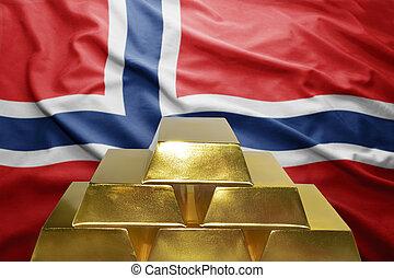 norwegian gold reserves - shining golden bullions on the...