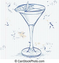 Cocktail alcoholic Stinger on a notebook page. It consists...