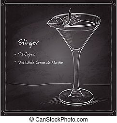 Cocktail alcoholic Stinger on black board. It consists of...