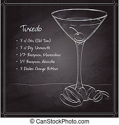 Tuxedo cocktail on black board, consisting of Old Tom Gin,...