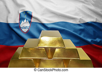 slovenian gold reserves - shining golden bullions on the...