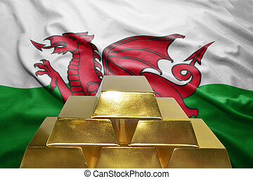 welsh gold reserves - shining golden bullions on the welsh...