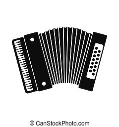 Retro accordion icon. Black simple style on white background