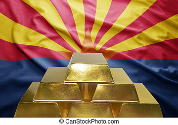 arizona gold reserves - shining golden bullions on the...