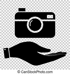 Digital photo camera icon. Save or protect symbol by hand