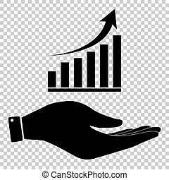 Growing graph sign. Flat style icon vector illustration.