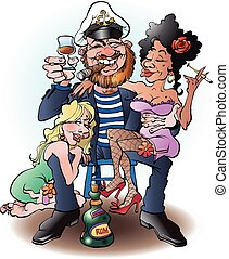 Sailor on shore leave - Vector cartoon illustration of a...