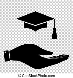 Mortar Board or Graduation Cap, Education symbol Flat style...
