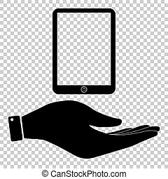 Computer tablet sign. Save or protect symbol by hand